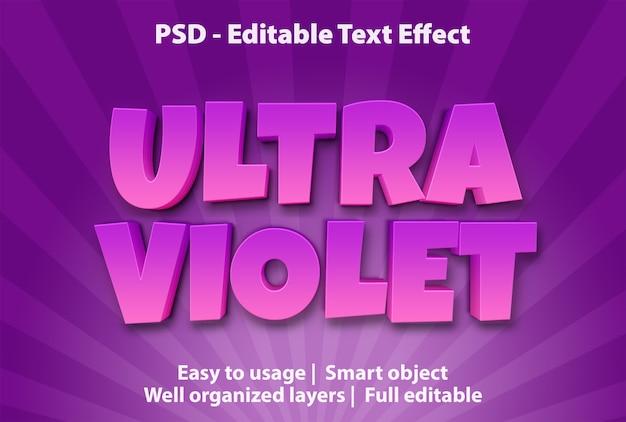 Efeito de texto editável ultravioleta