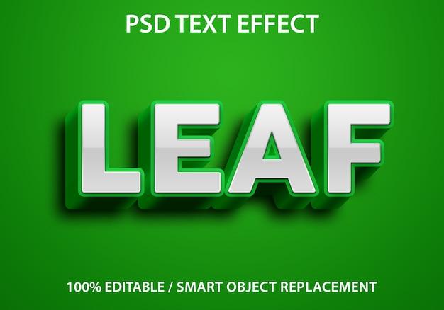 Efeito de texto editável verde folha