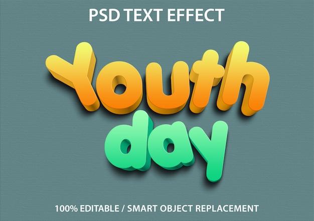 Efeito de texto editável youth day premium