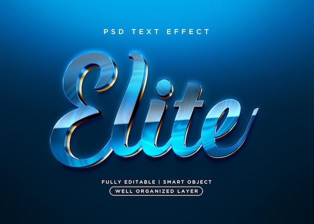 Efeito de texto elite estilo 3d
