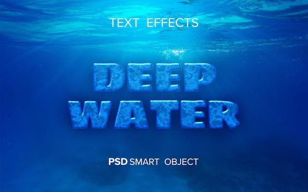 Efeito de texto em águas profundas