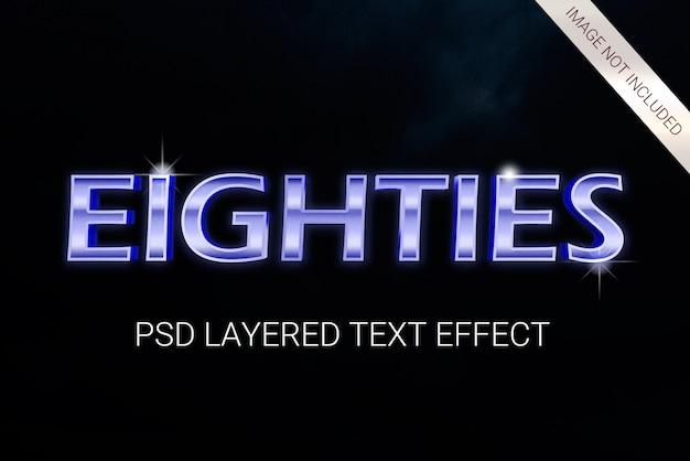 Efeito de texto em camadas de ficção científica dos anos 80 do psd