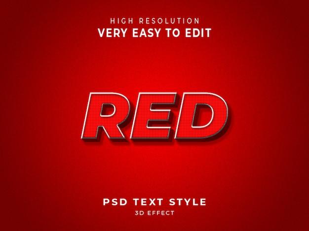 Efeito de texto em cores 3d vermelho