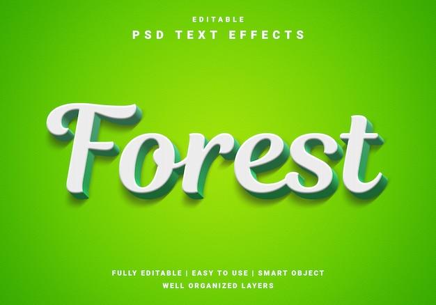 Efeito de texto em cores da floresta 3d moderna