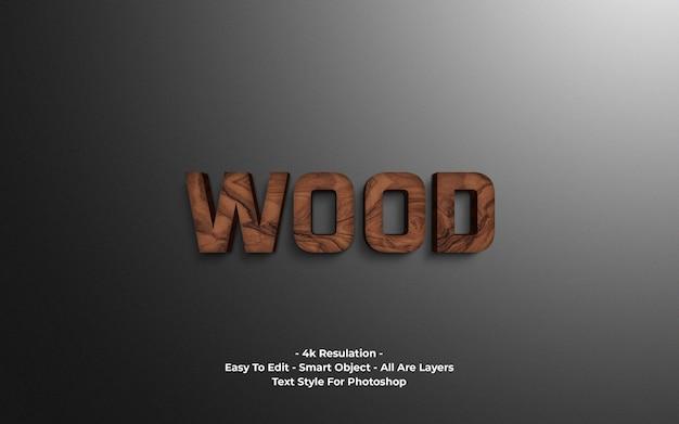 Efeito de texto em madeira 3d