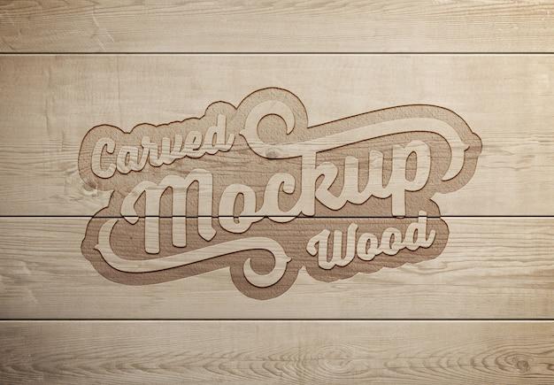 Efeito de texto em madeira gravada mockup