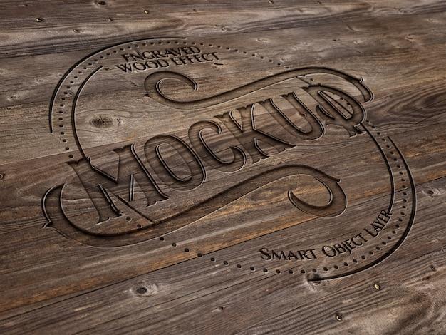Efeito de texto em madeira gravada