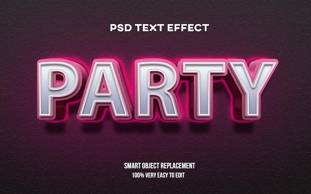 Efeito de texto em negrito de festa 3d