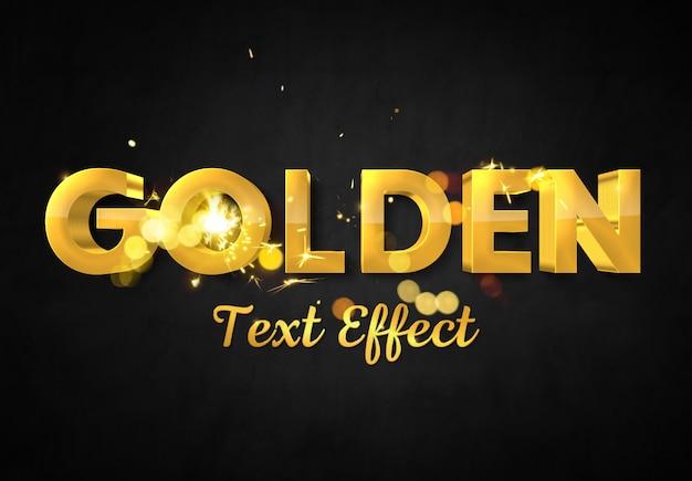 Efeito de texto em ouro 3d com maquete de faísca