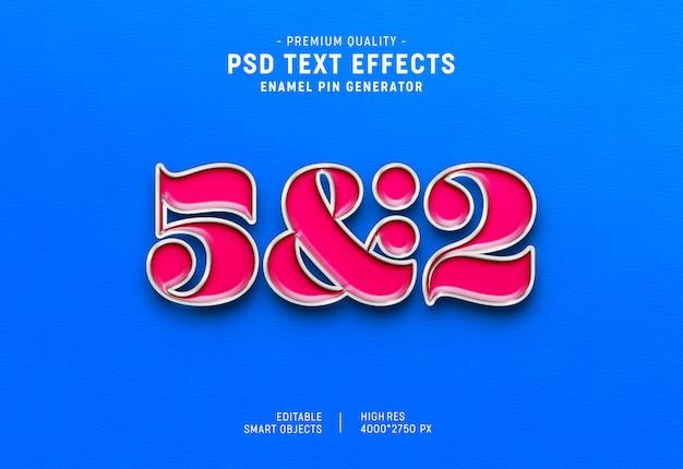 Efeito de texto em pino de esmalte 3d estilo