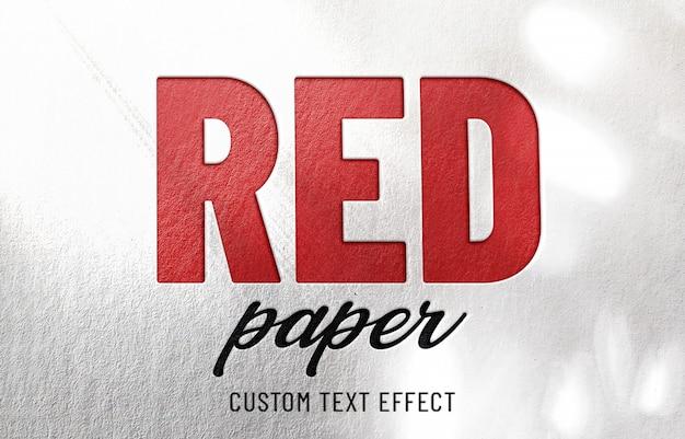 Efeito de texto em relevo de papel vermelho