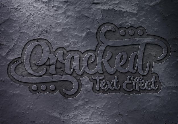Efeito de texto em relevo em maquete de superfície rachada