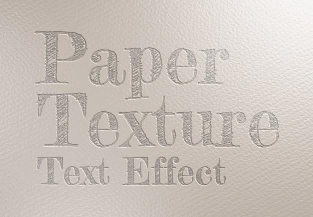 Efeito de texto em relevo na textura da folha de papel mockup