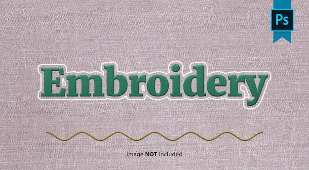 Efeito de texto em tecido bordado