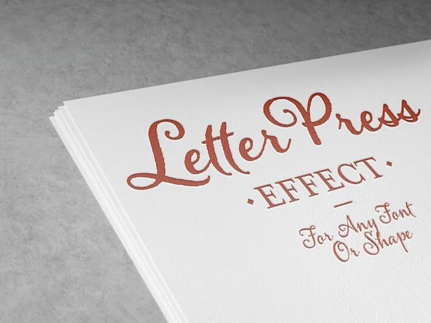 Efeito de texto em tipografia em relevo