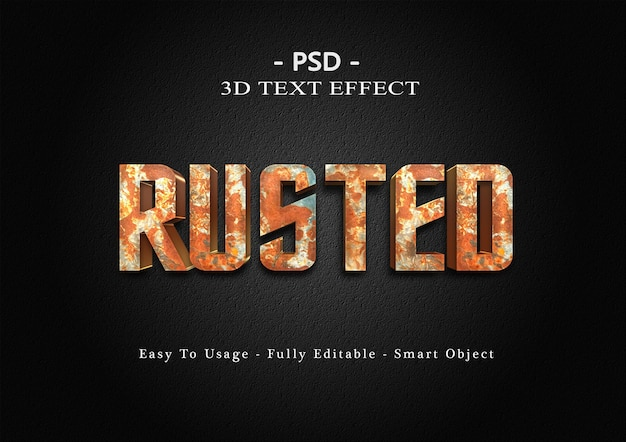 Efeito de texto enferrujado 3d