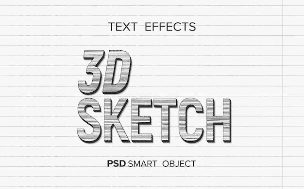 Efeito de texto escrevendo estilo de esboço 3d