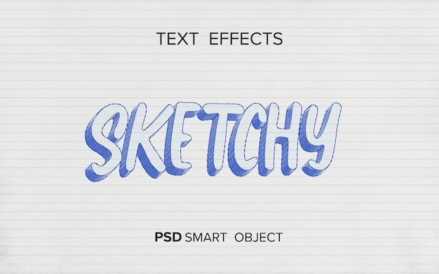 Efeito de texto escrevendo estilo de esboço