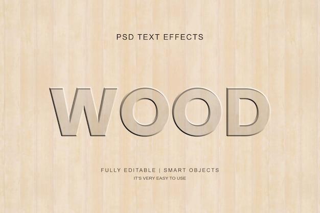 Efeito de texto esculpido em madeira