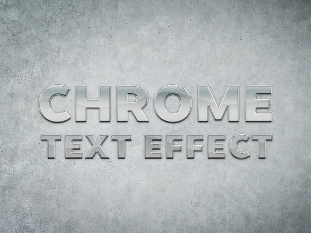 Efeito de texto esculpido em metal cromado