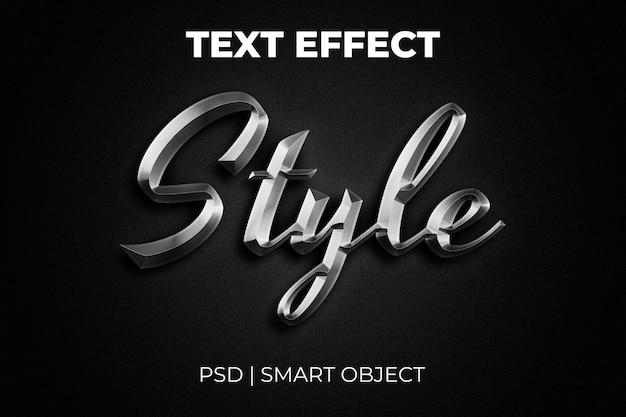 Efeito de texto estilo 3d de metal prateado brilhante