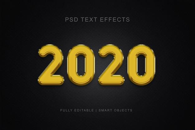 Efeito de texto estilo balão de 2020