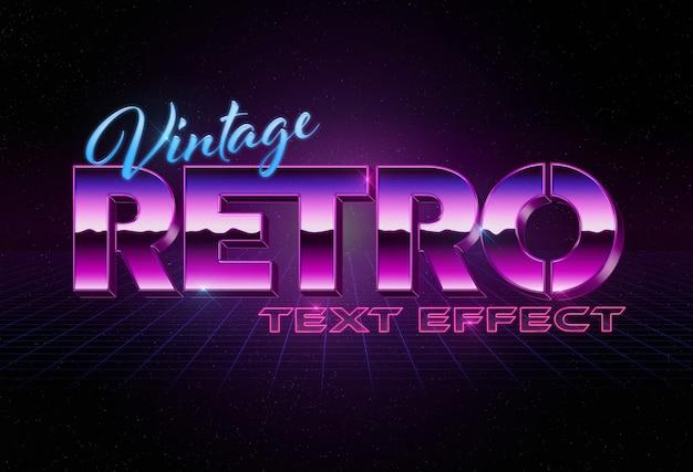 Efeito de texto estilo retro 3d dos anos 80