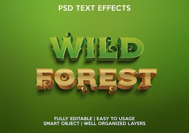 Efeito de texto floresta selvagem