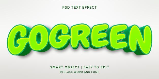 Efeito de texto go green 3d