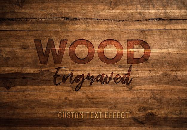 Efeito de texto gravado em madeira