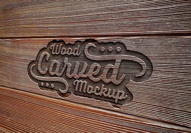 Efeito de texto gravado em maquete de textura de prancha de madeira