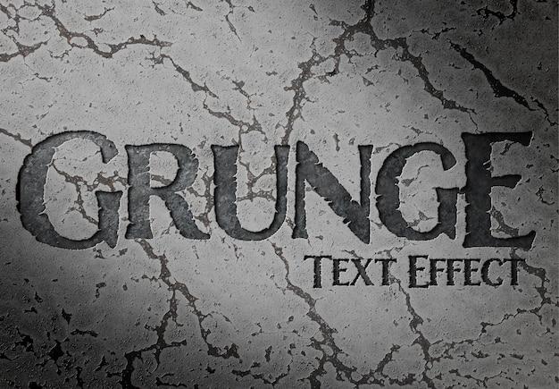 Efeito de texto gravado em superfície rachada