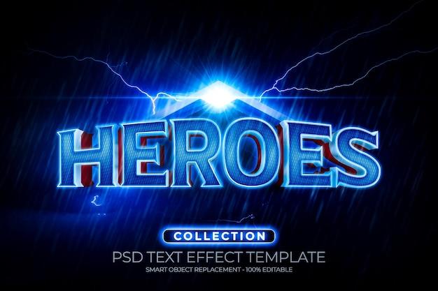 Efeito de texto heroes com trovão