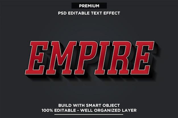 Efeito de texto império 3d estilo de fonte vermelha