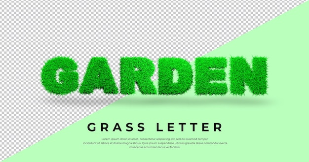 Efeito de texto jardim 3d com grama verde