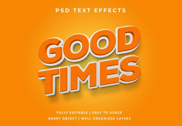 Efeito de texto laranja good times editável