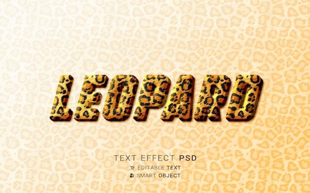 Efeito de texto leopardo criativo