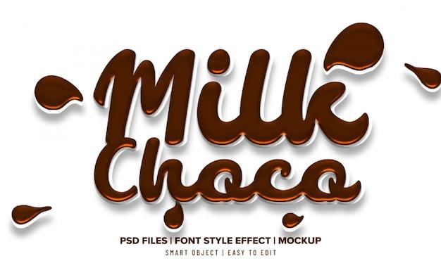 Efeito de texto líquido 3d com leite com chocolate