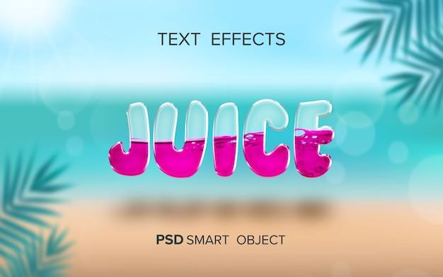 Efeito de texto líquido de suco