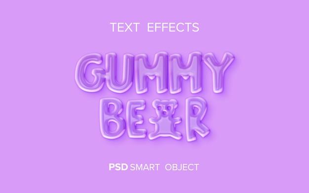Efeito de texto líquido de ursinho de goma