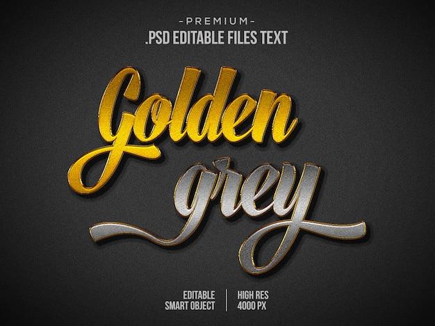Efeito de texto metálico dourado cinza 3d, efeito de texto metálico cromado, efeito de texto cinza dourado metálico usando estilos de camada