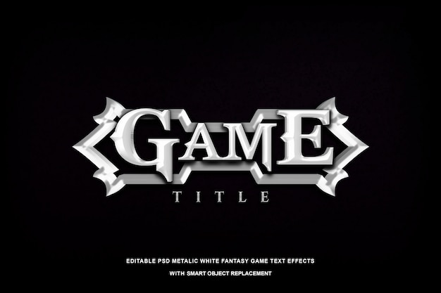 Efeito de texto metálico jogo fantasia branco
