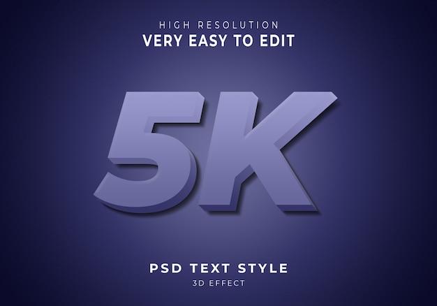 Efeito de texto moderno em 3d de 5k