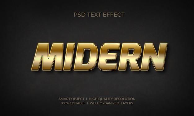Efeito de texto moderno estilo ouro 3d