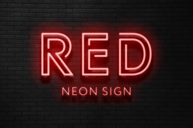 Efeito de texto neon vermelho