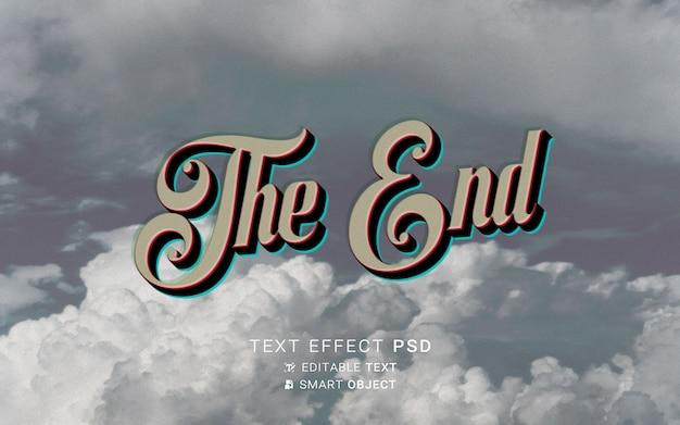 Efeito de texto no final do design do filme antigo
