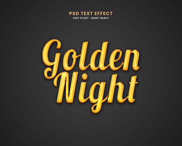 Efeito de texto noite dourada