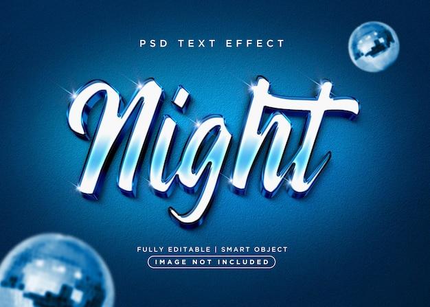 Efeito de texto noturno estilo 3d