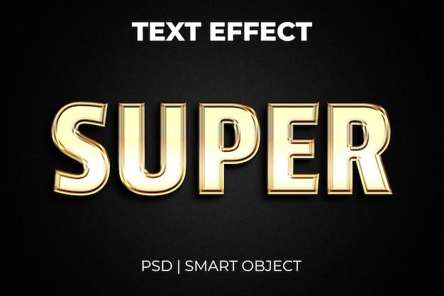 Efeito de texto ouro editável super venda em fundo preto