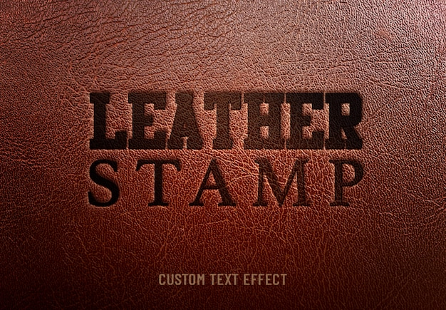 Efeito de texto personalizado de carimbo de couro